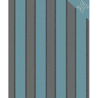 Rasch Glitter Stripes Papier peint Noir Turquoise Sparkle Shimmer Paste The Wall