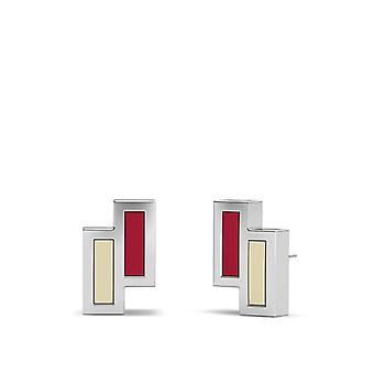 University Of Oklahoma Sterling Silver Asymmetric Enamel Stud Earrings In Red and Tan