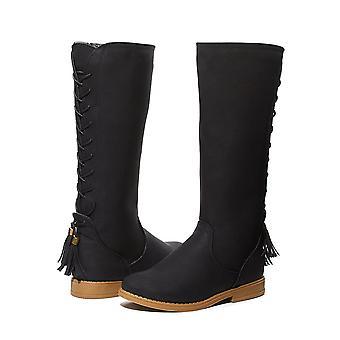 Filles Lace Up Bottes d'équitation d'hiver avec des chaussures de tassel de dos