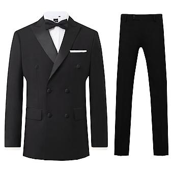 Dobell Mens Nero 2 Pezzo Tuxedo Regolare Fit Peak Lapel Double Breasted