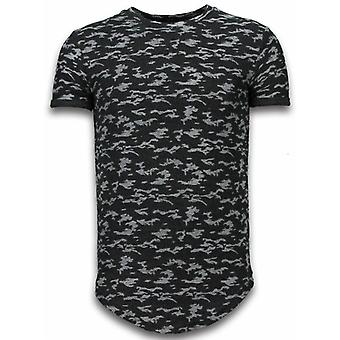 Fashionable Camouflage T-shirt - Long Fit -Shirt Army Pattern - Black