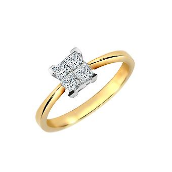 Jewelco London 18ct gul guld spænding sæt prinsesse G VS 0,25 CT diamant 4 sten illusion Solitaire engagement ring 5mm
