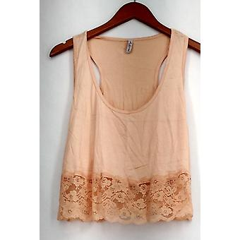 Auditions Fashion Top Cropped Tank Floral Lace Light Peach Orange Womens