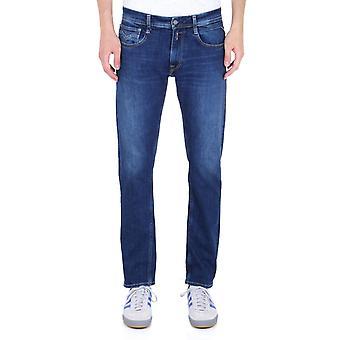 Replay Rob raka avsmalnande Mid blå denim jeans