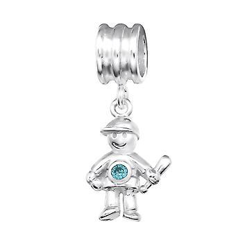 Boy - 925 Sterling Silver Jewelled Beads - W28909X