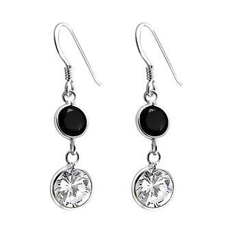Pendaison de cercles - en argent Sterling 925 zircon boucles d'oreilles - W6451X