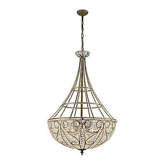 Elizabethan 10-light chandelier in dark bronze with clear crystal elk lighting