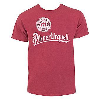 Pilsner Urquell Logo Men's Heather Red T-Shirt