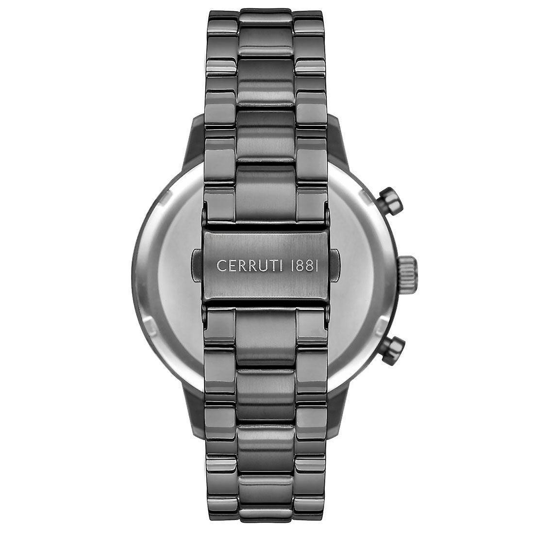 Cerruti 1881 Mens Gents Gunmetal et Silver Designer Wrist Watch CRA23409