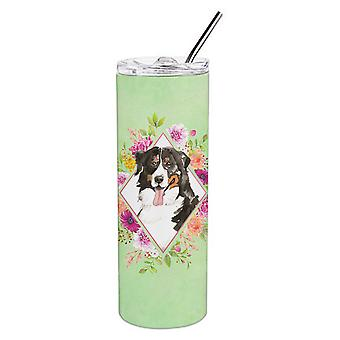 Bernese Mountain Dog Green Flowers Double Walled Stainless Steel 20 oz Skinny Tu