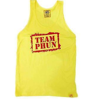 Team phun stencil tank top yellow