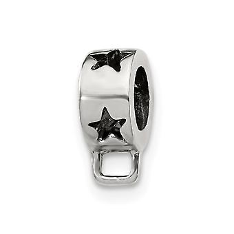 925 Sterling Silver Polished Reflections Star Loop Clicca su Perline Fascino Pendente Collana Gioielli Regali per le donne