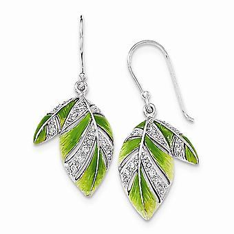 925 sterling sølv grøn og gul emalje blad og cubic zirconia øreringe