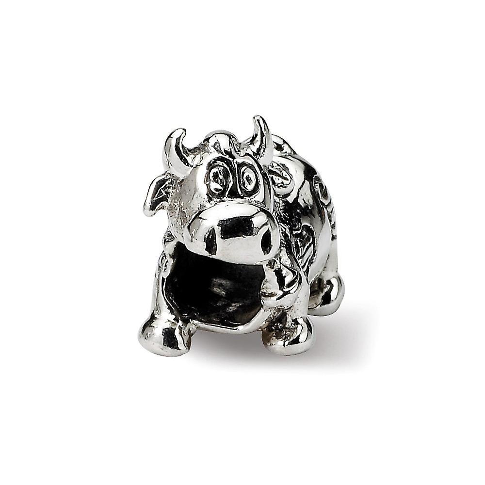 925 Sterling Silber poliert Finish Reflexionen Kinder Kuh mit Glocke Perle Anhänger Anhänger Halskette Schmuck Geschenke für Frauen