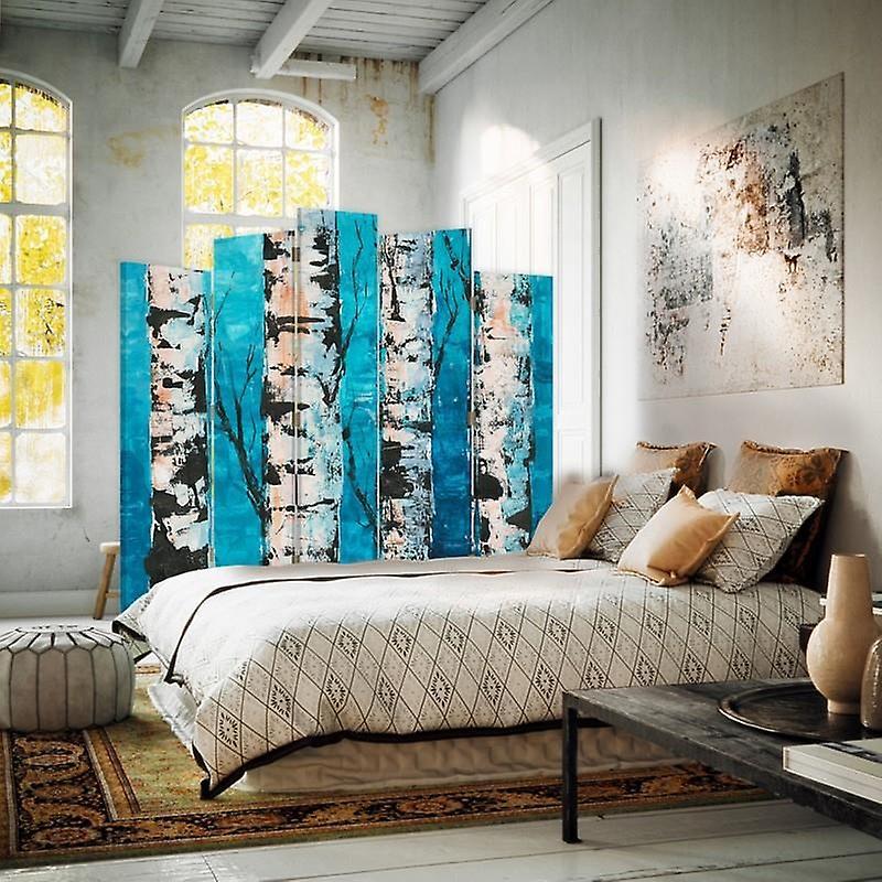 Diviseur de pièce décoratif, 5 panneaux, double-face, toile rotative de 360 , troncs de bouleau