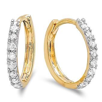 Dazzlingrock kollektion 0,22 Carat (CTW) 14K ægte rund skåret hvid diamant damer Huggies Hoop Øreringe 1/4 CT, gul guld