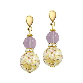 Eternal Collection Caravella Purple And Gold Venetian Murano Drop Screw Back Clip On Earrings