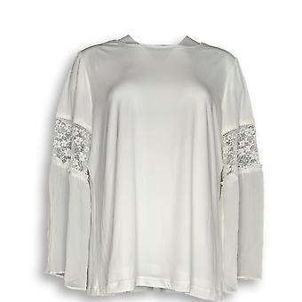Susan Graver Femmes-apos;s Top Liquid Knit avec Chiffon Ivory A371707