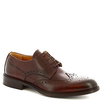 ليوناردو أحذية الرجال & ق المصنوعة يدويا ديربي brogues الأحذية في جلد العجل البني