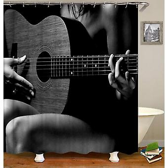 Sexy Guitar Playing Shower Curtain