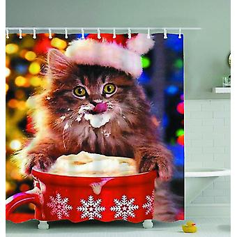 Cat Licking whipped Cream Shower Curtain