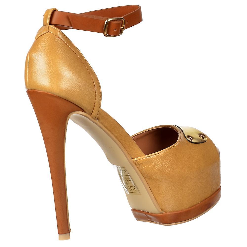 Onlineshoe Two Tone Leather Effect Peep Toe Stiletto Heel - Gold Metal Badge Detail - Camel