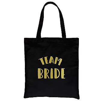 Team Bride-GOLD Black Canvas Shoulder Bag Shiny Bright Unique Gift
