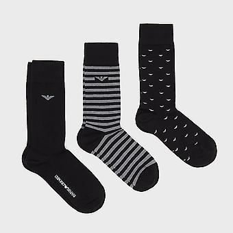 Emporio Armani Trois paquets de chaussettes à motifs