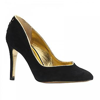 Peter Kaiser Kay Black Suede High Heel Court Shoe With Gold Trim