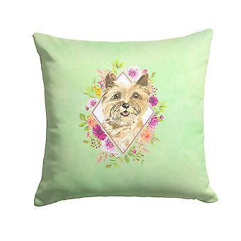 Cairn Terrier Green Flowers Fabric Decorative Pillow