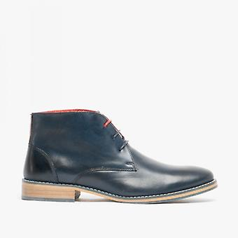 Front Logan Mens Leather Chukka Boots Navy