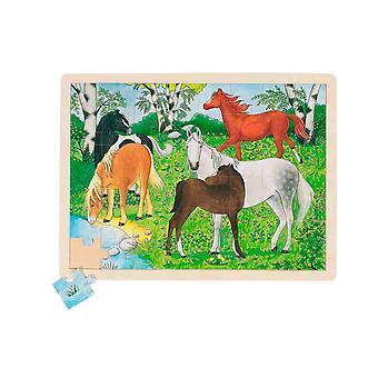 Goki Houten Raampuzzel Pony Boerderij 48St