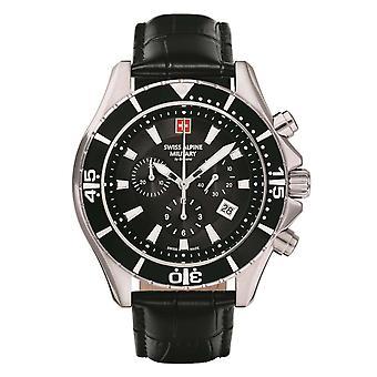 Sveitsin Alpine sotilaallinen Miesten Watch Chronograph analoginen kvartsi 7040.9537 SAM nahka