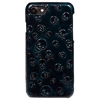 For iPhone SE(2020), 8 & 7  Case,Stylish Skulls Genuine Cowhide Leather Fashion Cover,Green