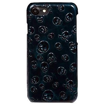 Para iPhone SE(2020), 8 & 7 Case, EleganteSkulls Genuíno Cowhide Leather Fashion Cover, Verde