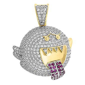 925 plata esterlina amarillo tono hombres CZ Super Mario fantasma colgante collar encanto medidas 45.8x32.4mm ancho joyería regalos
