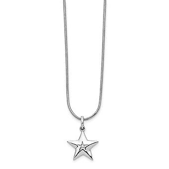 White Ice Diamond Star Necklace 18 Inch Jewelry Gifts for Women - .010 dwt