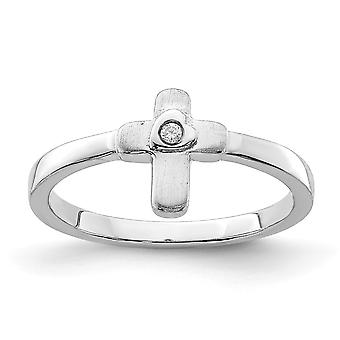 925 Sterling Silver Polished CZ Cubic Zirconia Simulated Diamond Religious Faith Cross Ring - Ring Size: 3 to 4