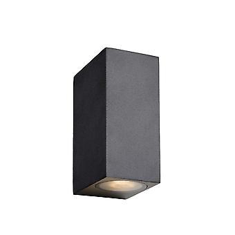 Lucide Zora-LED Moderne rechteckige Aluminium schwarze Wand Strahler