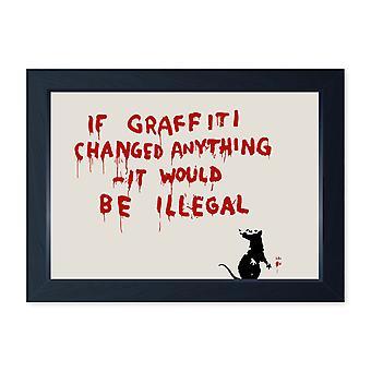 Banksy If Graffiti cambiato qualcosa incorniciato parete d'arte, Kitchem Home Decor