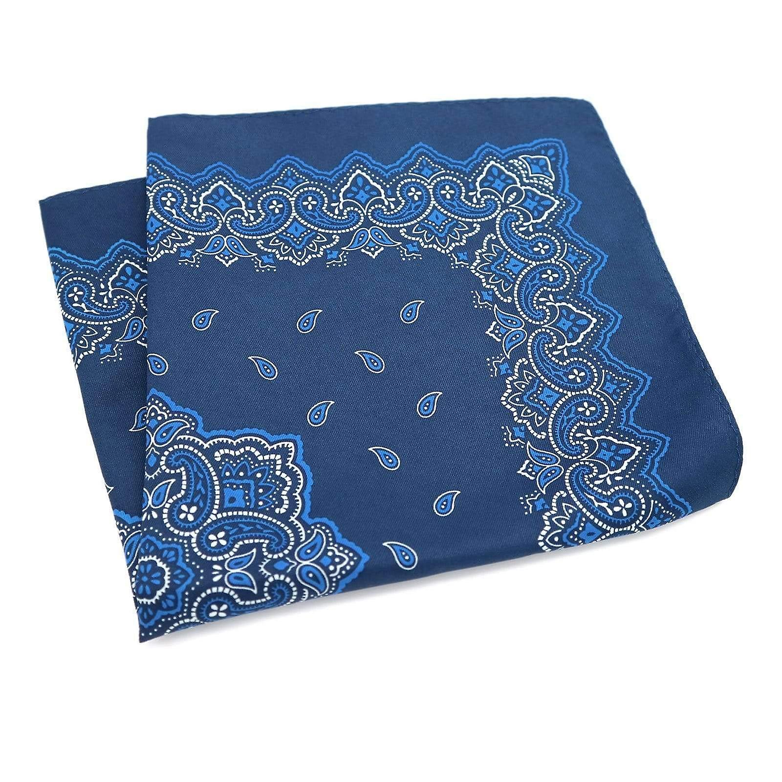 Blue paisley pattern large 33cm hanky pocket square