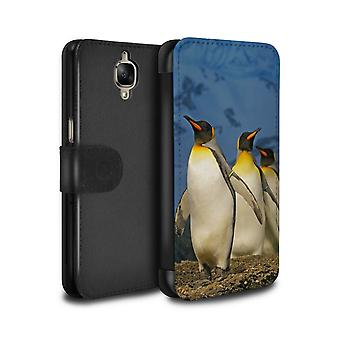 STUFF4 PU Leather Wallet Flip Case/Cover for OnePlus 3/3T/King Penguins/Arctic Animals