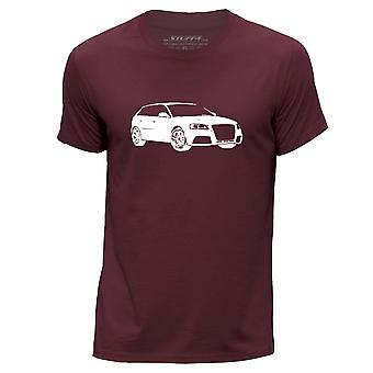 STUFF4 Men's Round Neck T-Shirt/Stencil Car Art / 2013 RS3/Burgundy
