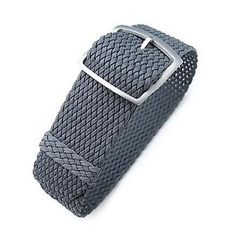 Strapcode fabric watch strap 20, 22, 24mm miltat perlon watch strap, dark grey, sandblasted ladder lock slider buckle