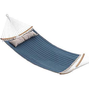 Luxurious quilted hammock 200 x 140 with cushion - bamboo/oxford fabric