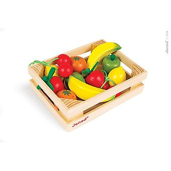 Janod Wooden Fruit Crate with 12 Fruits