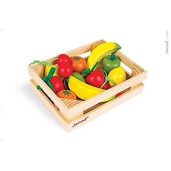 Janod dřevěná ovocná bedna s 12 plody