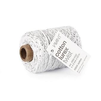 Vivant Cord Cotton Lurex Twist white / silver - 50 MT 2MM