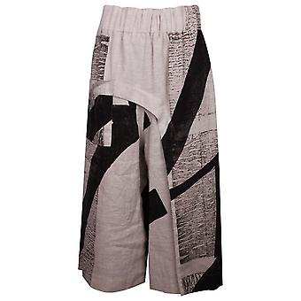 Crea Concept Cream & Black Abstract Design Slouch Pants With Elasticated Waist