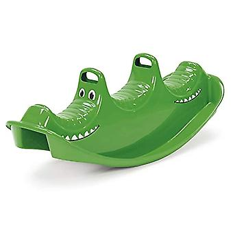 Dantoy 3 Persons Rocker and Seesaw, Durable Plastic with 3 Seats and Made in Denmark - Green Crocodile